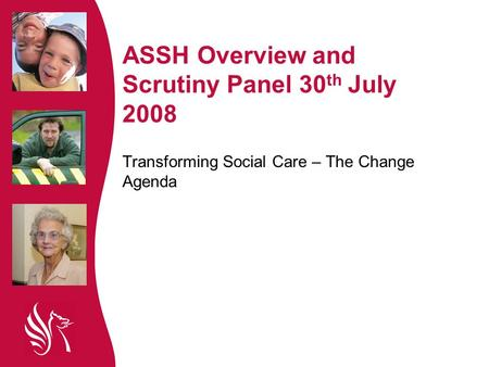 ASSH Overview and Scrutiny Panel 30 th July 2008 Transforming Social Care – The Change Agenda.