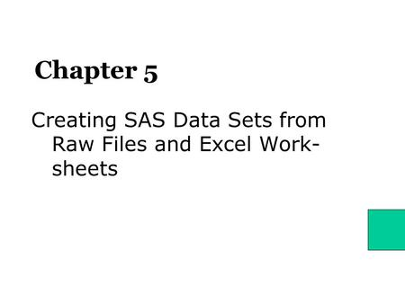 Chapter 5 Creating SAS Data Sets from Raw Files and Excel Work- sheets.