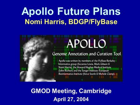 Apollo Future Plans Nomi Harris, BDGP/FlyBase GMOD Meeting, Cambridge April 27, 2004.