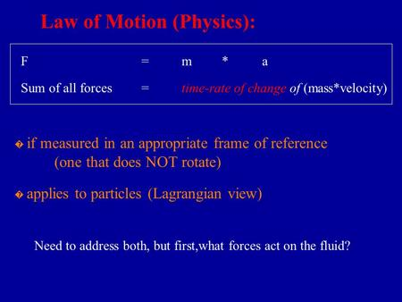 Law of Motion (Physics): � if measured in an appropriate frame of reference (one that does NOT rotate) Sum of all forces=time-rate of change of (mass*velocity)