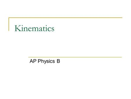 Kinematics AP Physics B. Defining the important variables Kinematics is a way of describing the motion of objects without describing the causes. You can.