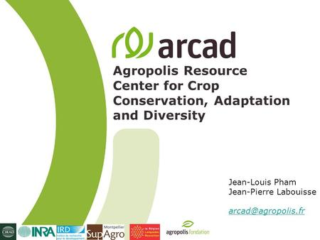 Agropolis Resource Center for Crop Conservation, Adaptation and Diversity Jean-Louis Pham Jean-Pierre Labouisse