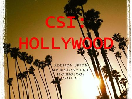 ADDISON UPTON AP BIOLOGY DNA TECHNOLOGY PROJECT CSI: HOLLYWOOD.
