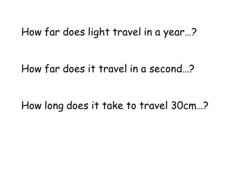 How far does light travel in a year…?
