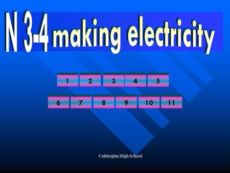 Calderglen High School 12345 67891011 Calderglen High School 1 Electricity is a flow of …..? answer electrons.