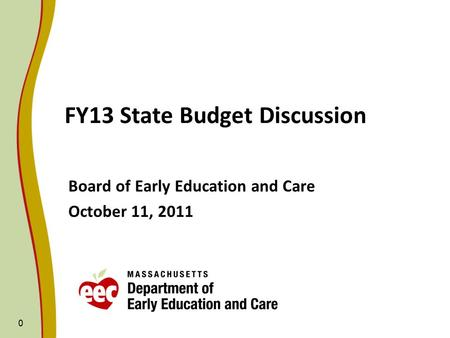 0 FY13 State Budget Discussion Board of Early Education and Care October 11, 2011.