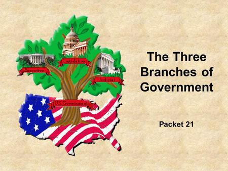 The Three Branches of Government Packet 21. The Federal Government has 3 main branches LegislativeExecutiveJudicial The Law-making group Makes sure laws.
