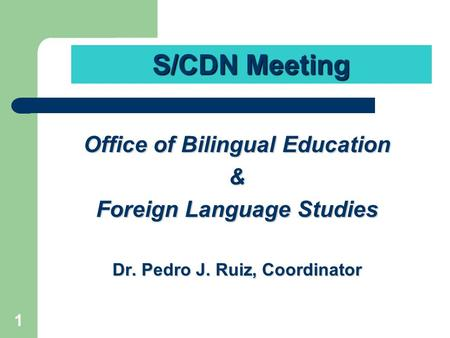 1 Office of Bilingual Education & Foreign Language Studies Dr. Pedro J. Ruiz, Coordinator S/CDN Meeting.