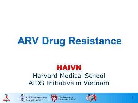 1 ARV Drug Resistance HAIVN Harvard Medical School AIDS Initiative in Vietnam.