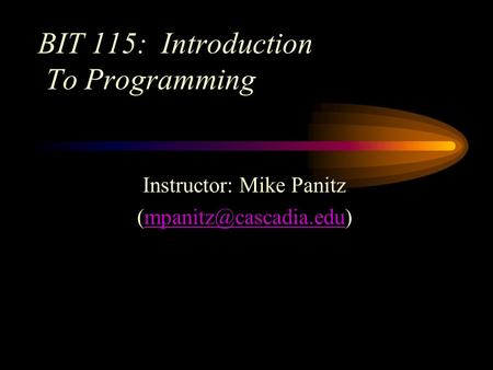 BIT 115: Introduction To Programming Instructor: Mike Panitz