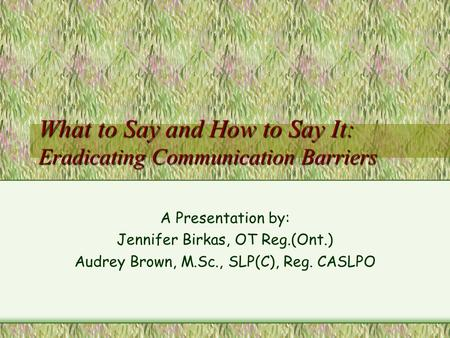 What to Say and How to Say It: Eradicating Communication Barriers A Presentation by: Jennifer Birkas, OT Reg.(Ont.) Audrey Brown, M.Sc., SLP(C), Reg.