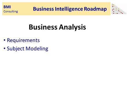BMI Consulting Business Intelligence Roadmap Business Analysis Requirements Subject Modeling.