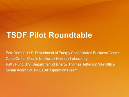 TSDF Pilot Roundtable Pete Yerace, U.S. Department of Energy Consolidated Business Center Gene Grohs, Pacific Northwest National Laboratory Patty Hunt,