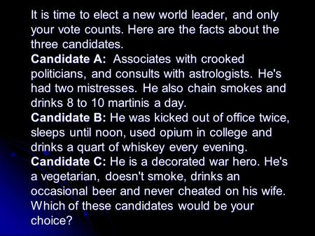 It is time to elect a new world leader, and only your vote counts. Here are the facts about the three candidates. Candidate A: Associates with crooked.