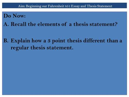 3 point thesis statement
