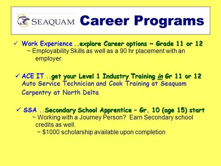 Explore Career options ~ Grade 11 or 12 Work Experience..explore Career options ~ Grade 11 or 12 ~ Employability Skills as well as a 90 hr placement with.