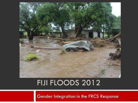 FIJI FLOODS 2012 Gender Integration in the FRCS Response.