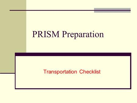 Transportation Checklist