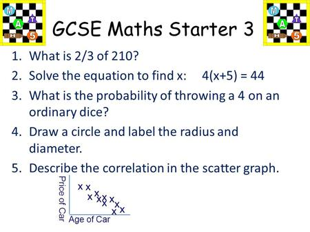 1 of 66 GCSE Maths Starter 3 1.What is 2/3 of 210? 2.Solve the equation to find x: 4(x+5) = 44 3.What is the probability of throwing a 4 on an ordinary.