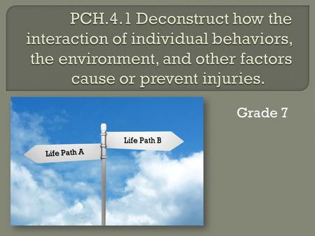 Grade 7 Life Path A Life Path B.  The student will examine current data on intentional and unintentional injuries.  The student will provide examples.