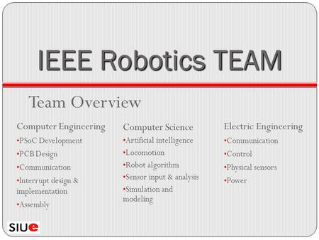 IEEE Robotics TEAM Team Overview Computer Engineering PSoC Development PCB Design Communication Interrupt design & implementation Assembly Computer Science.