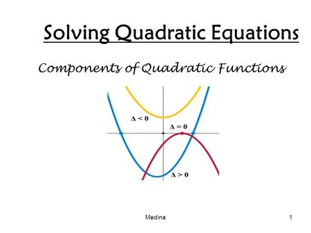 Solving Quadratic Equations Components of Quadratic Functions Medina1.