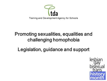 Training and Development Agency for Schools Promoting sexualities, equalities and challenging homophobia Legislation, guidance and support.