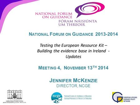 N ATIONAL F ORUM ON G UIDANCE 2013-2014 Testing the European Resource Kit – Building the evidence base in Ireland - Updates M EETING 4, N OVEMBER 13 TH.