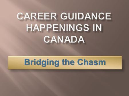Bridging the Chasm. career counsellor Students, adults Immigrants, school drop-outs career consultant Develop CG resources CG research reports parent.