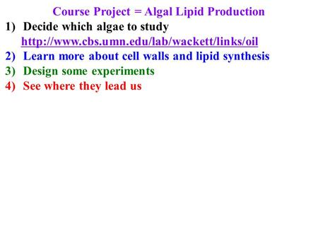 Course Project = Algal Lipid Production 1)Decide which algae to study  2)Learn more about cell walls and lipid.