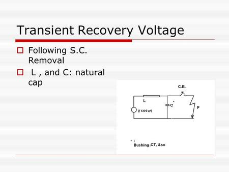 Transient Recovery Voltage  Following S.C. Removal  L, and C: natural cap.