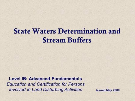 State Waters Determination and Stream Buffers
