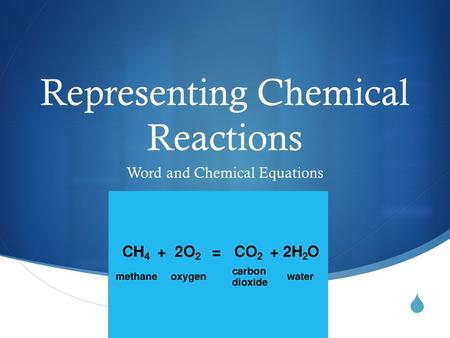  Representing Chemical Reactions Word and Chemical Equations.