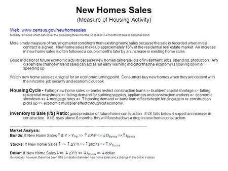 New Homes Sales (Measure of Housing Activity) Web: www.census.gov/newhomesales Monthly revisions which can cover the preceding three months, so look at.