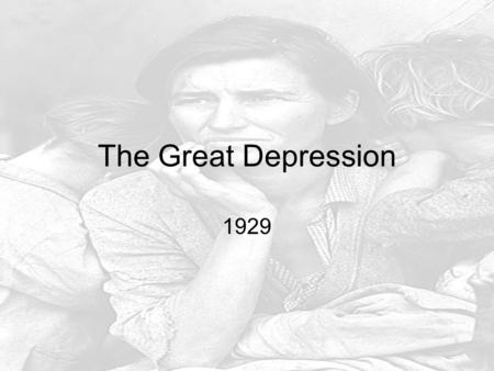 The Great Depression 1929. 1920's Problems Factories making Too Much, Farms growing too much Factories Fire Workers (Don't need them) Farm Prices fall.