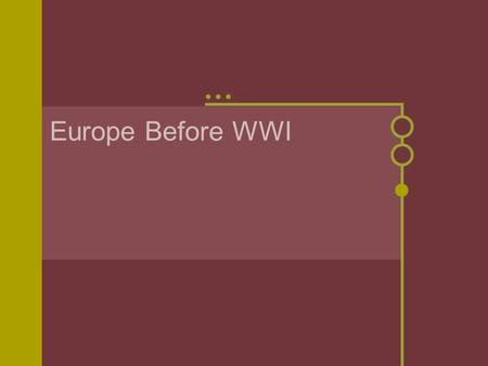 Europe Before WWI. Changes in Europe Franco-Prussian War helped to create Germany Frances lost…Money and land By 1871 Germany most powerful nation in.