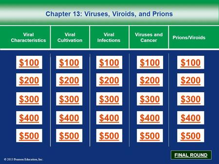 © 2013 Pearson Education, Inc. Chapter 13: Viruses, Viroids, and Prions $100 $200 $300 $400 $500 $100$100$100 $200 $300 $400 $500 Viral Characteristics.