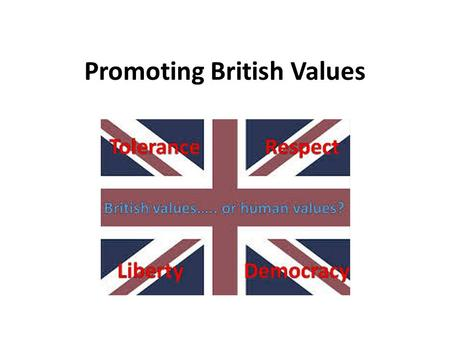 Promoting British Values. What are British Values? According to Ofsted, 'fundamental British values' are: democracy. the rule of law. individual liberty.