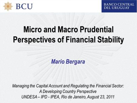 Micro and Macro Prudential Perspectives of Financial Stability Mario Bergara Managing the Capital Account and Regulating the Financial Sector: A Developing.