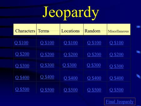 Jeopardy CharactersTermsLocationsRandom Miscellaneous Q $100 Q $200 Q $300 Q $400 Q $500 Q $100 Q $200 Q $300 Q $400 Q $500 Final Jeopardy.