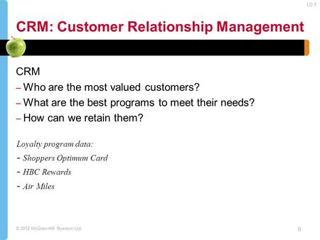 © 2012 McGraw-Hill Ryerson Ltd. CRM: Customer Relationship Management CRM – Who are the most valued customers? – What are the best programs to meet their.
