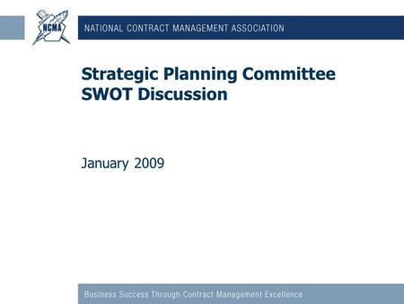 Strategic Planning Committee SWOT Discussion January 2009.
