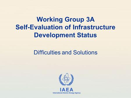 IAEA International Atomic Energy Agency Working Group 3A Self-Evaluation of Infrastructure Development Status Difficulties and Solutions.