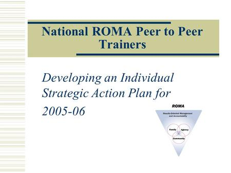 National ROMA Peer to Peer Trainers Developing an Individual Strategic Action Plan for 2005-06.