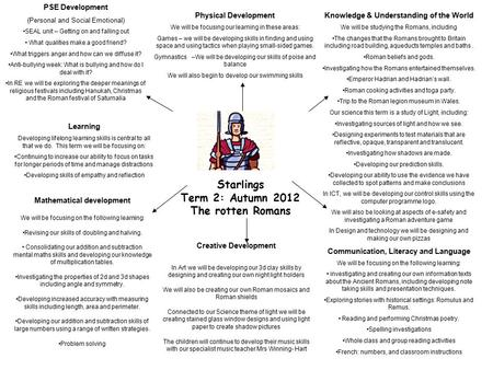 Starlings Term 2: Autumn 2012 The rotten Romans Physical Development We will be focusing our learning in these areas: Games – we will be developing skills.