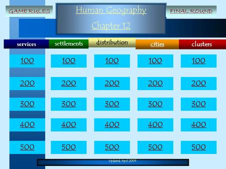Updated: April 2009 Human Geography Chapter 12 services clusters distribution cities settlements 100 200 300 400 500 100 200 300 400 500 GAME RULESFINAL.