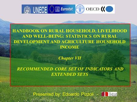 Presented by: Edoardo Pizzoli - HANDBOOK ON RURAL HOUSEHOLD, LIVELIHOOD AND WELL-BEING: STATISTICS ON RURAL DEVELOPMENT AND AGRICULTURE HOUSEHOLD INCOME.