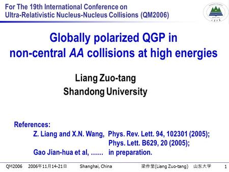 QM2006 2006 年 11 月 14-21 日 Shanghai, China 梁作堂 (Liang Zuo-tang) 山东大学 1 For The 19th International Conference on Ultra-Relativistic Nucleus-Nucleus Collisions.