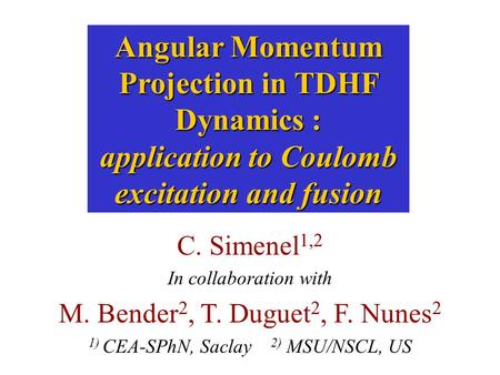 Angular Momentum Projection in TDHF Dynamics : application to Coulomb excitation and fusion C. Simenel 1,2 In collaboration with M. Bender 2, T. Duguet.