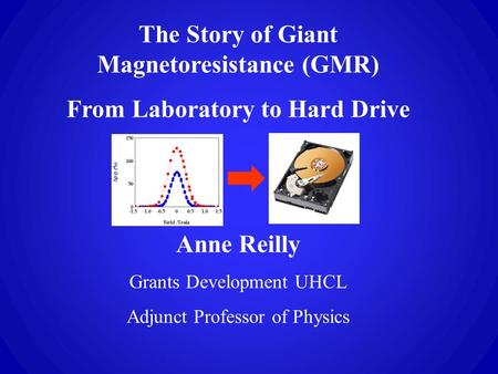 The Story of Giant Magnetoresistance (GMR) From Laboratory to Hard Drive Anne Reilly Grants Development UHCL Adjunct Professor of Physics.